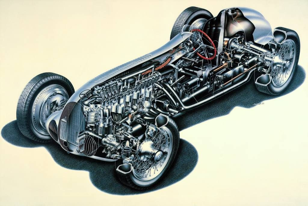 Cutaway drawing of the Mercedes-Benz W 125 racing car, 1937