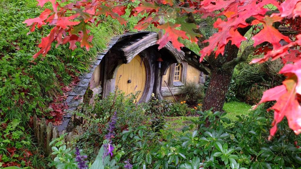 Autumn leaves and a Hobbit hole